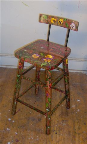 "Pansy Stool 2007, 33"" x 13"" x 13"" Sold"