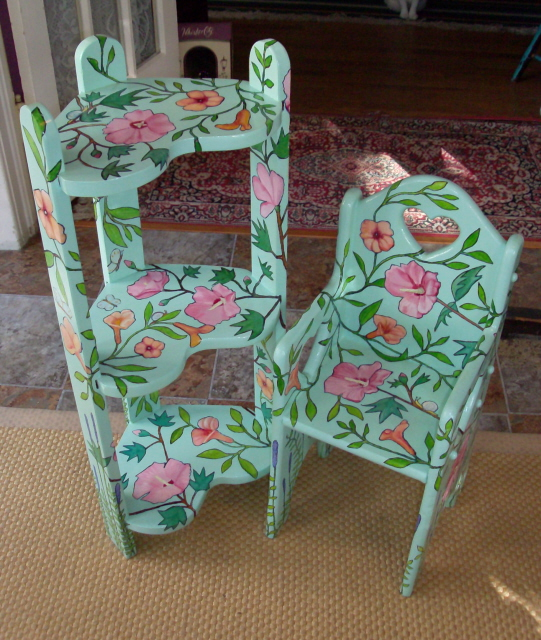 "Child's Chair & Shelf (chair: 24""H; shelf: 32""H) $220/set, $135/each"