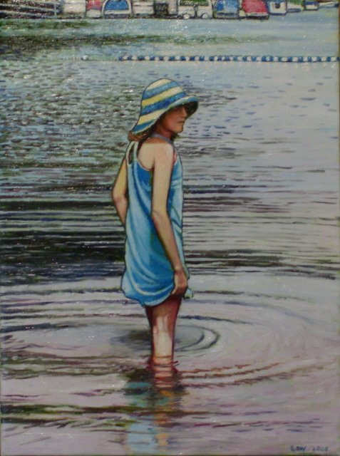 "Girl In The Lake (2008, 12"" x 16"", oil on board) SOld"