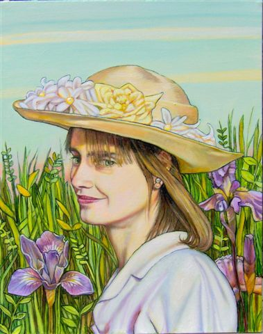 """Woman with Hat (Self Portrait with Irises) (2007, 16"""" x 20"""") Sold"""