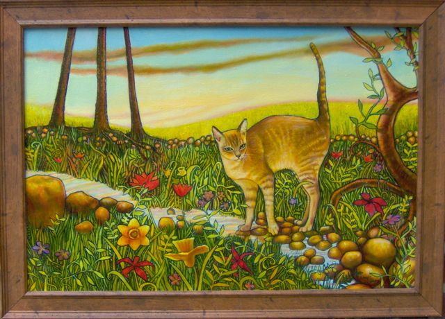 """Cat In The Woods (2007, 30"""" x 20"""") Sold"""