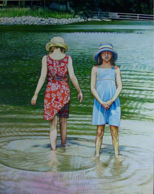 "Sisters In The Lake (2008, 32"" x 40"", oil on board) Sold"
