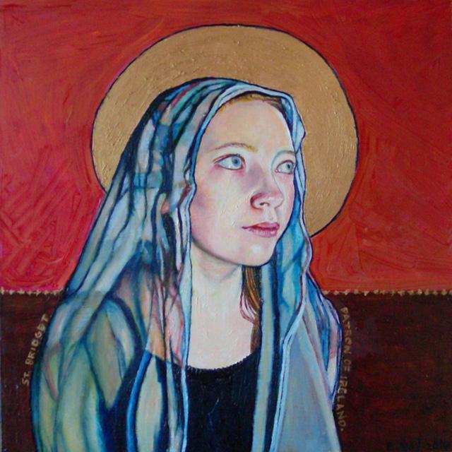 "St. Bridget, Patron of Ireland (2010, 12"" x 12"", oil on masonite) Sold"