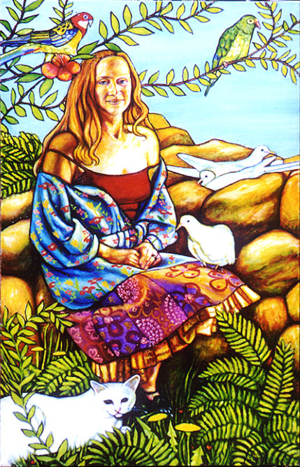 "Debbie with Pets (2004, 24"" x 40"")"