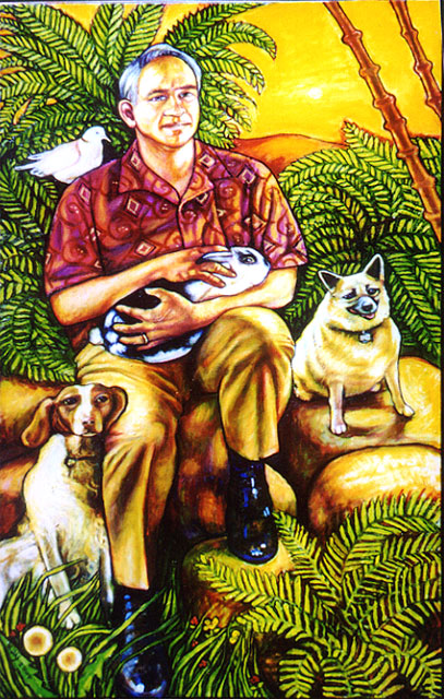 "Craig with Pets (2004, 24"" x 40"")"
