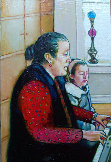 "At The Piano (2008, 4"" x 6"") Sold"