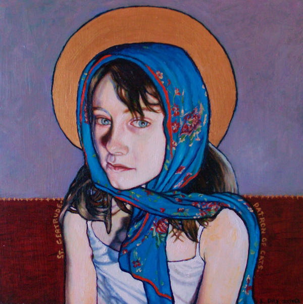 "St. Gertrude, Patron of Cats (2010, 12"" x 12"", oil on masonite) $500"