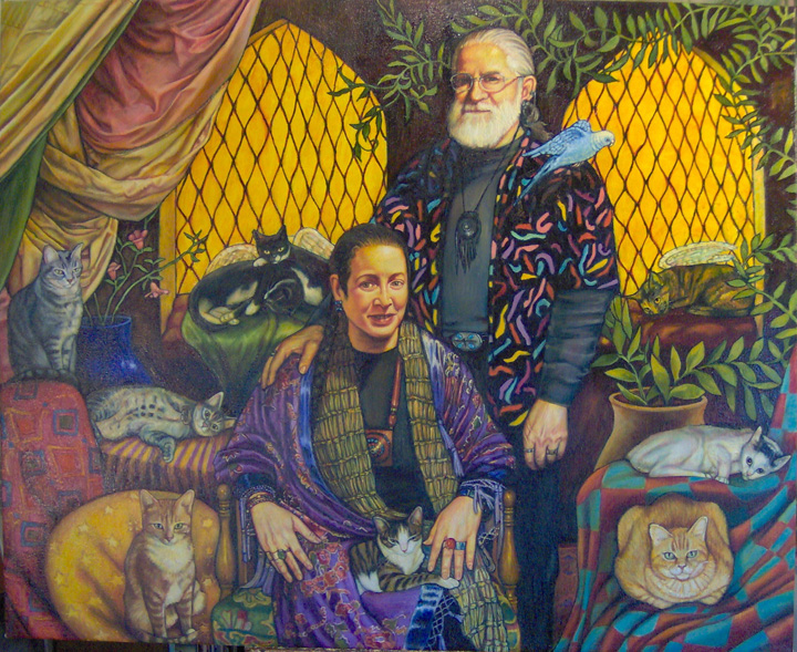 "Betsy and Burnell with Cats and Bird (2005, 58"" x 46"")"