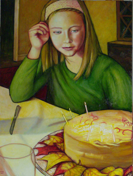 "The Birthday Cake (2008, 18"" x 24"", oil on board) SOLD"
