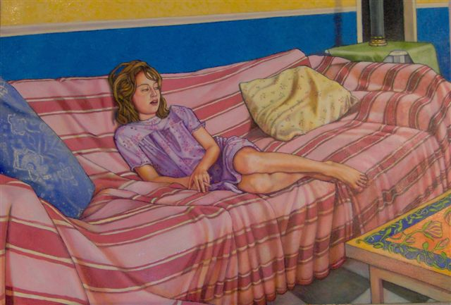"""Girl On A Couch (2007, 38"""" x 26"""") $1,500 (Available for loan)"""