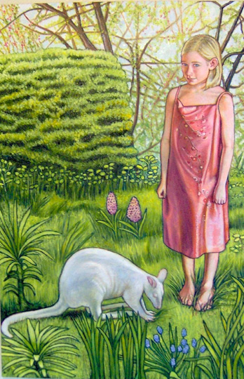 """Greta and the Wallaby (2006, 24"""" x 36"""") $1,200 (Available for loan)"""