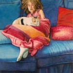 """The Blue Couch (2008, 18"""" x 24"""", oil on board) $1,600"""