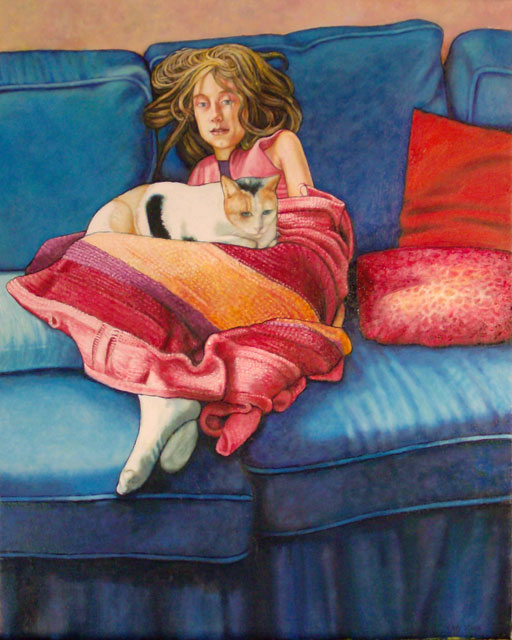 "The Blue Couch (2008, 18"" x 24"", oil on board) $1,600 (Available for loan)"