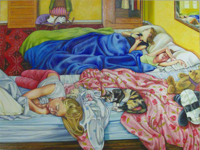 "Sleeping Girls with Cats (2007, 47"" x 35"") Sold"