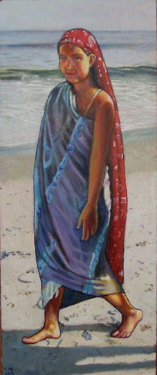 "Calla On The Beach #1 (2008, 7"" x 15"", oil on board)  $350 (Available for Loan)"