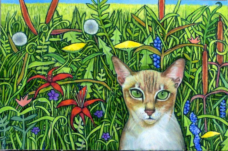 """Cat In A Field (2007, 19"""" x 12"""") Sold"""