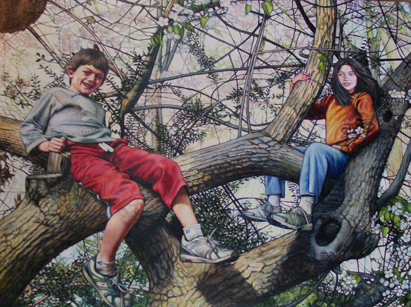 "Portrait of Oliver and Juniper (2013, 36"" x 30"")"
