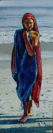 "Calla On The Beach #2 (2008, 7"" x 15"", oil on board)  $350 (Available for Loan)"