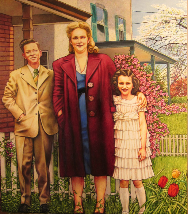 "Mrs. Weitzman with Joe and Joan (2014, 32"" x 37"")"