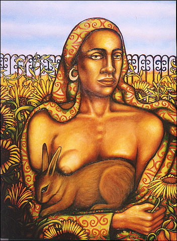 Woman with Brown Rabbit (1996, 41 x 33) $650 (Available for loan)