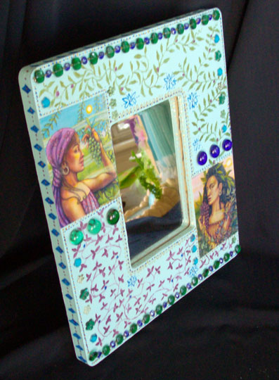 """Painted Frame w/ Mirror, Green & Red Grapes (11""""W x 13""""H) Sold"""
