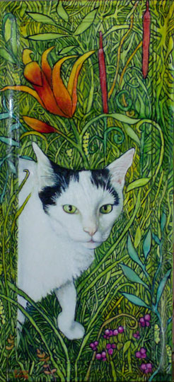 "Black & White Cat In The Garden (2008, 9"" x 18"", oil on board w/ painted frame) Sold"