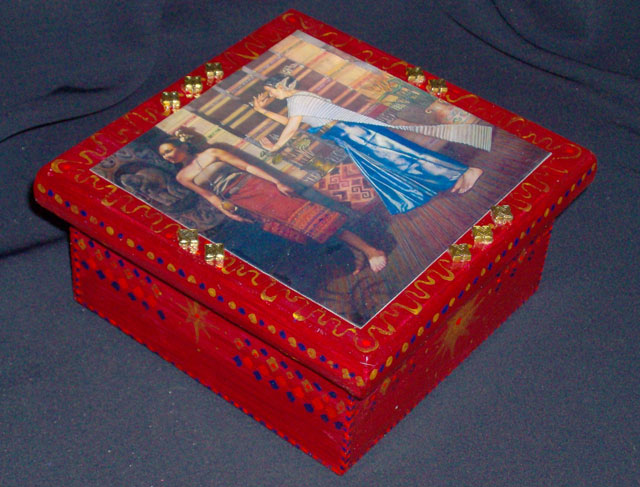 Pine Box With Thai Dancers For Sale
