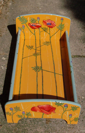 "Poppy Doll's Bed with pillows 2008, headboard: 11.5"" $160"