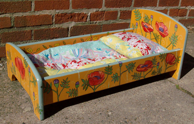 """Poppy Doll's Bed with pillows 2008, headboard: 11.5"""" $160"""