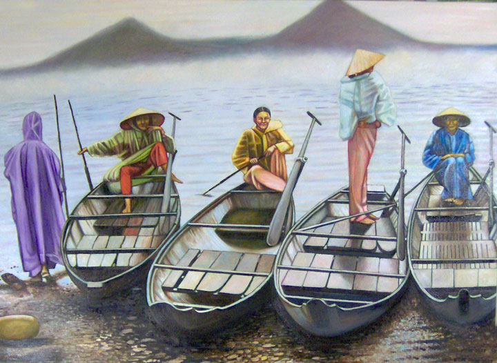 "Vietnamese Women with Boats (2007, 42"" x 30"") Sold"