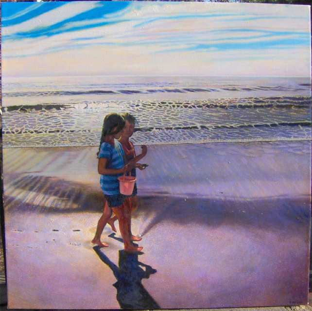"Collecting Shells (2006, 40"" x 40"") Sold"