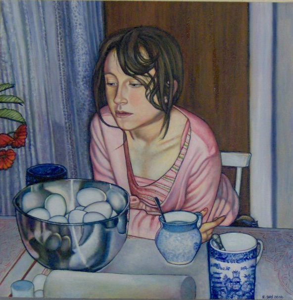 "Egg Dyeing (2006, 20"" x 20"") Sold"