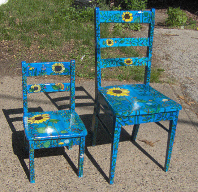 Two Sunflower Chairs (Adult and Child chairs) 2007 Sold