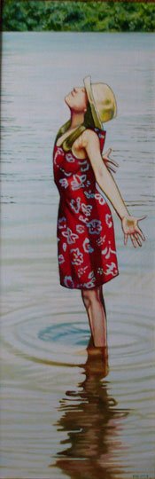 "Free Spirit (2008, 12"" x 35"", oil on board) $1,450 (Available for loan)"