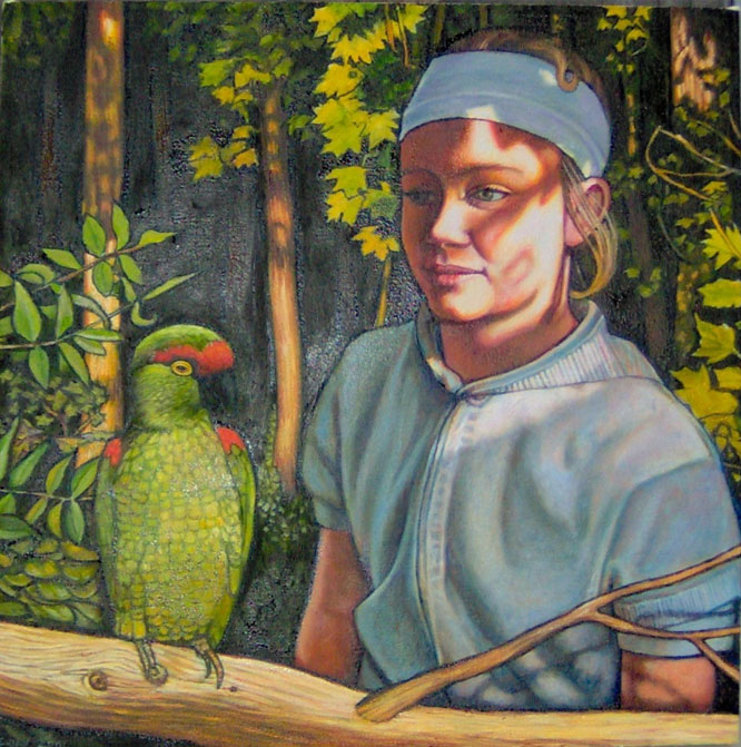 "Girl With Parrot (2006, 20"" x 20"") $800 (Available for loan)"