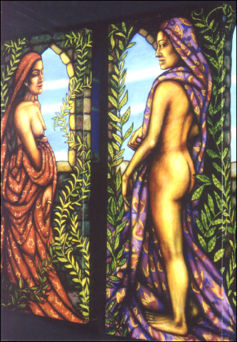 Women at the Windows (diptych, 2001, 17 x 41) $1300 ($700 each)  (Available for loan)