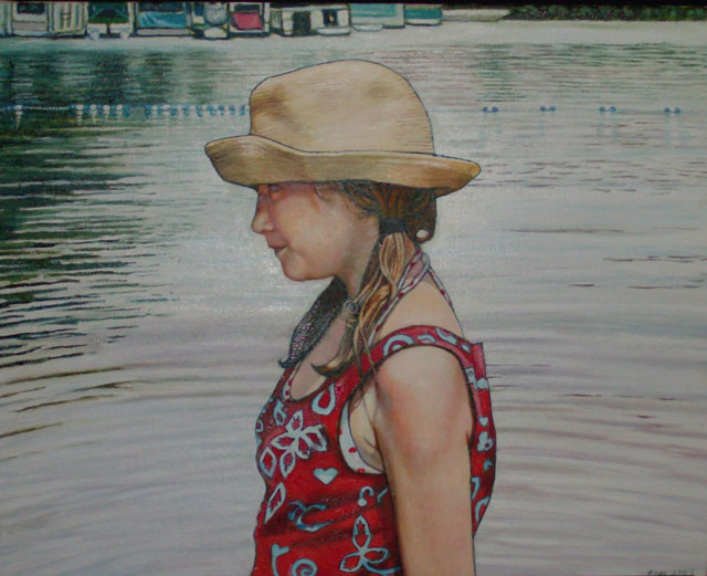 "Girl In Straw Hat (2008, 20"" x 16"", oil on board) Sold"