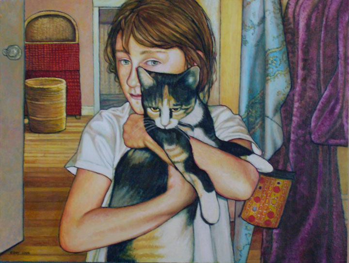 "Hazel and Pippa (2008, 24"" x 18"", oil on board) Sold"
