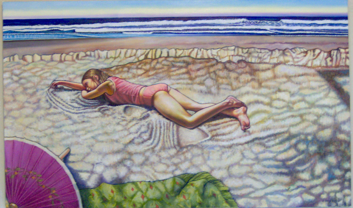 "Laying in the Sand (2006, 41"" x 25"") Sold"