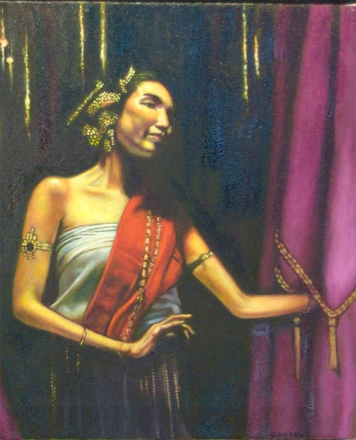 "Thai Dancer (2006, 18"" x 20"") $650 (Available for loan)"