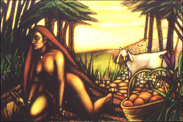 Woman with Goat (2002, 36 x 24) Sold