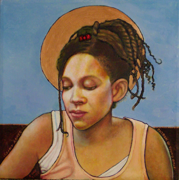 "St. Agnes, Patron of Young Girls (2008, 12"" x 12"", oil on masonite) Sold"