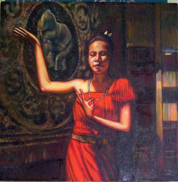 """Thai Dancer #2 (2006, 20"""" x 20"""") Sold"""