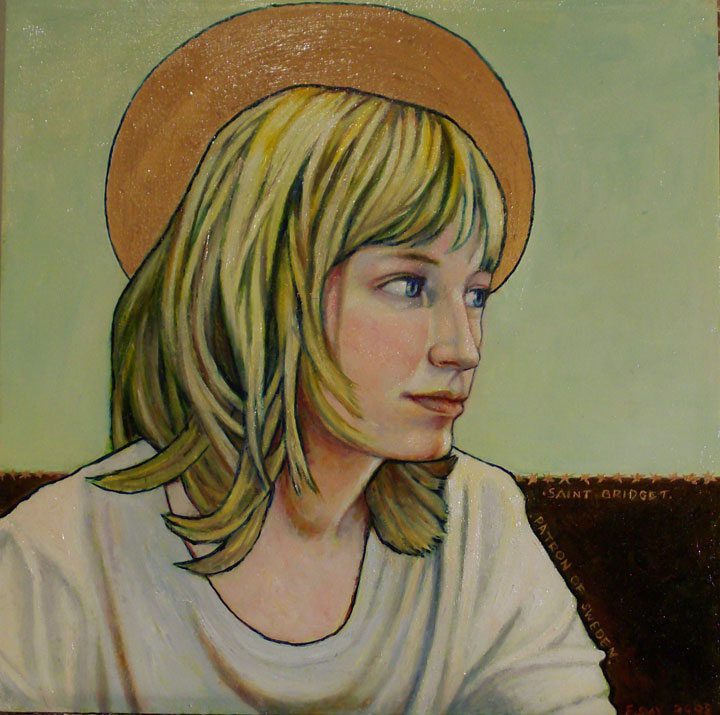 "St. Bridget, Patron of Sweden (2008, 12"" x 12"", oil on masonite) $350 (Available for loan)"