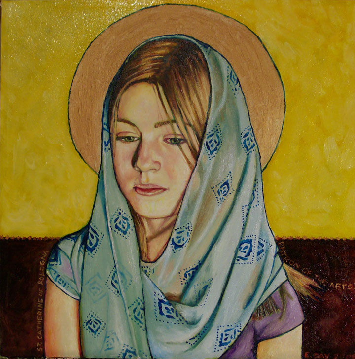 "St. Catherine of Bologna, Patron of Artists (2008, 12"" x 12"", oil on masonite) Sold"