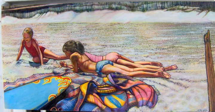 "Three Girls on the Beach (2006, 40"" x 20"") Sold"