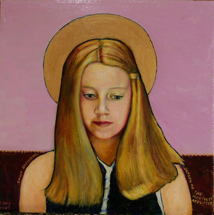 "St. Dymphna, Patron of the Mentally Afflicted (2008, 12"" x 12"", oil on masonite) $350 (Available for loan)"