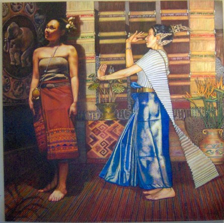 """Two Thai Dancers (2006, 60"""" x 60"""") $3,500 (Available for loan)"""