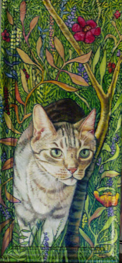 "Tabby In The Garden (2008, 9"" x 18"", oil on board w/ painted frame) Sold"