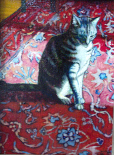 "Tabby On A Rug (2008, 10"" x 13"") Sold"